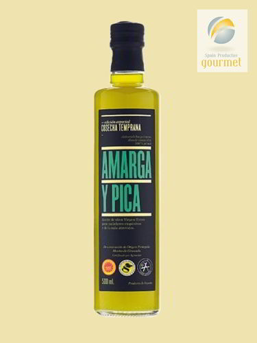 Virgin Olive Oil. Bitter and Pica Gourmet. D.O Montes de Granada.